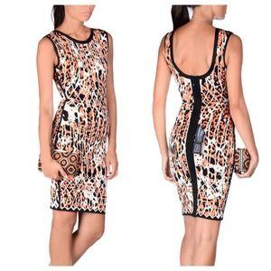 HERVE LEGER Auth Sydney Carotne Leopard Dress XS